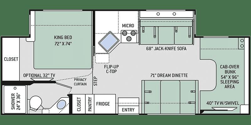 2019 Thor Chateau 27R Floor Plan