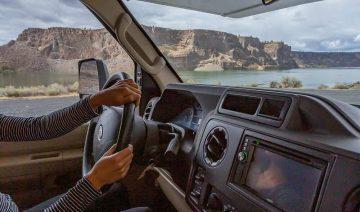 Driving RV near Lake