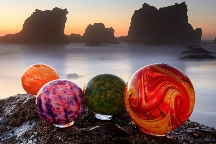 Finders Keepers glass globes in Lincoln City
