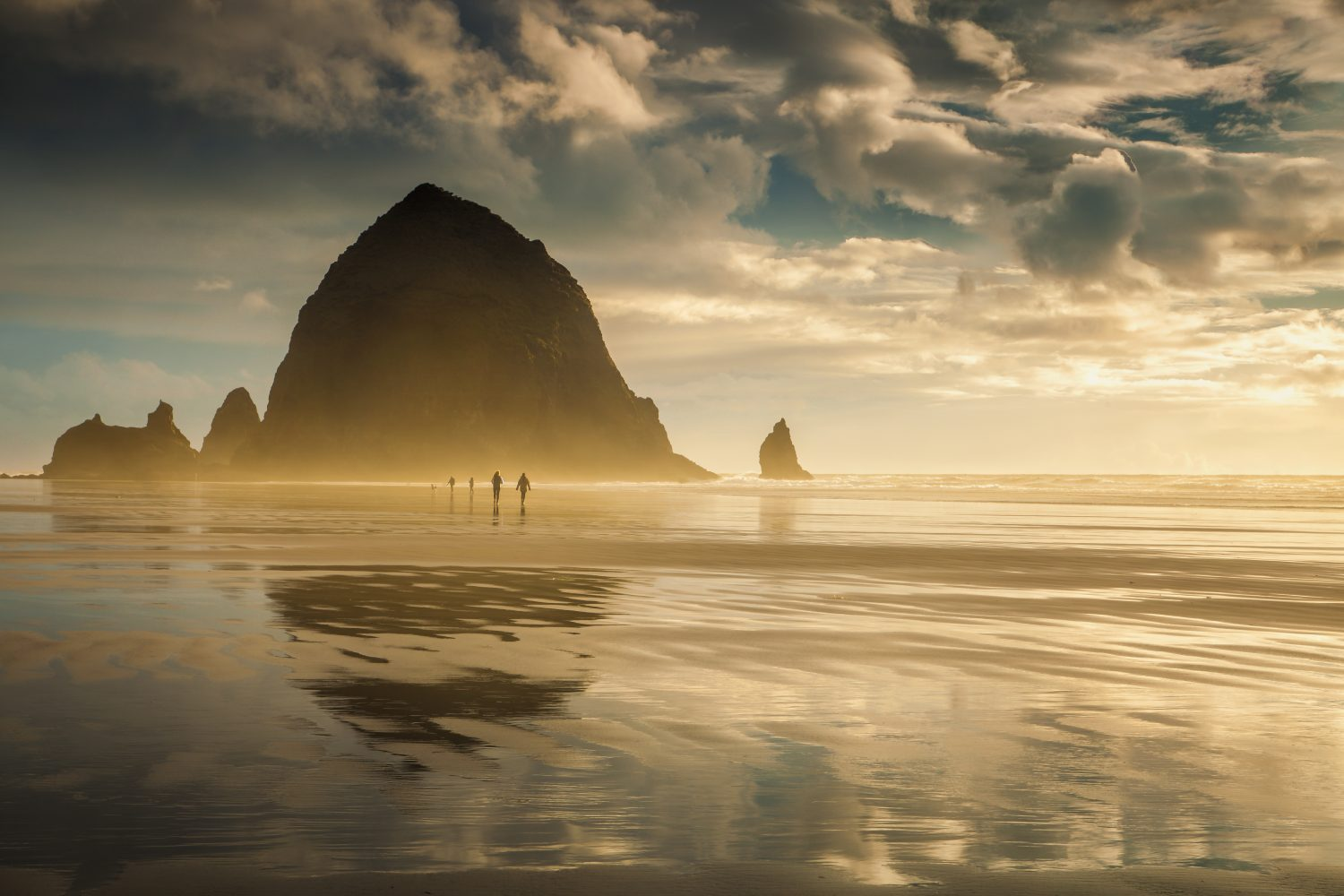 Haystack Rock at sunset along Cannon Beach on the Oregon Coast