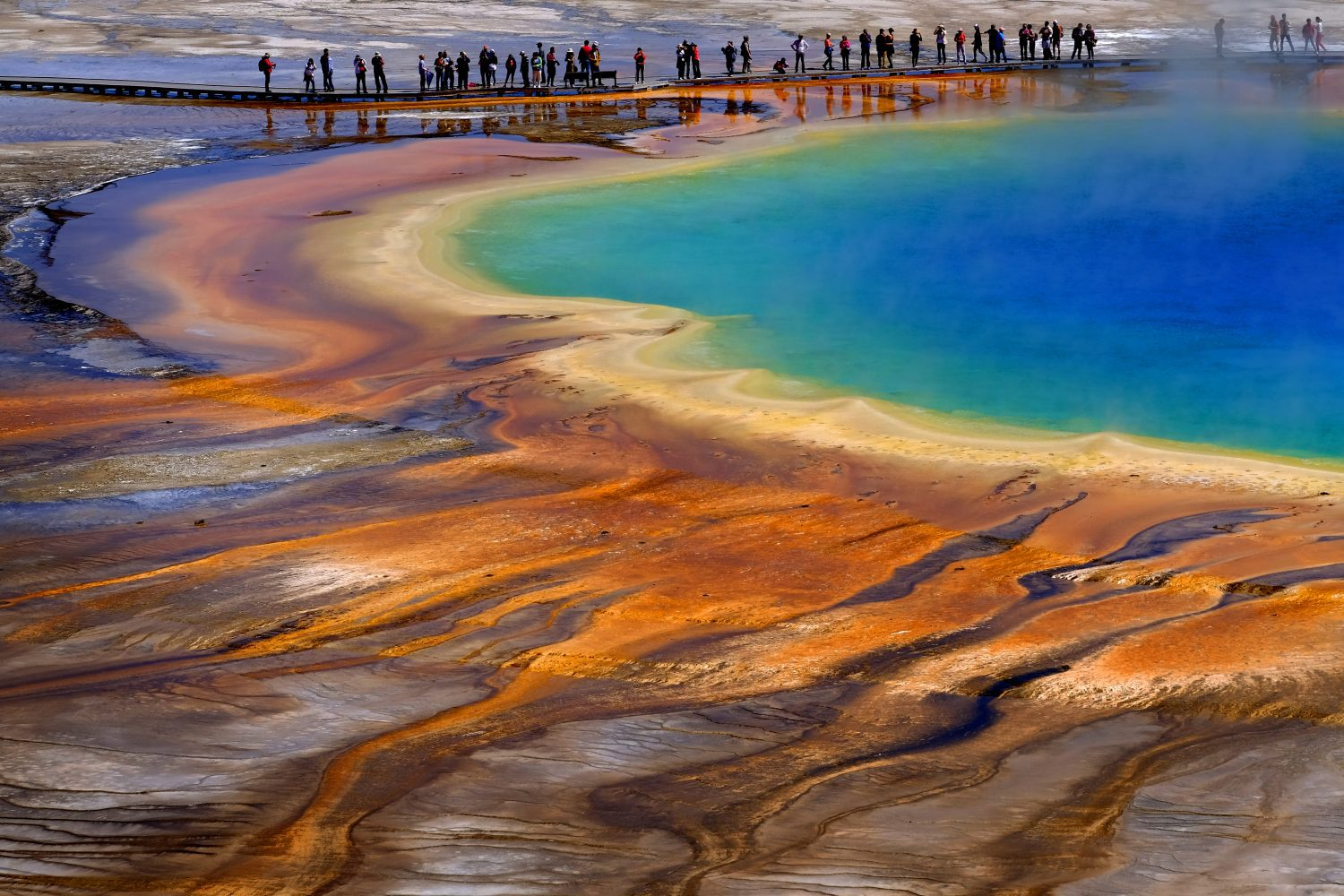 Grand Prismatic Spring Yellowstone National Park Tourists Viewing Spectacular Scene