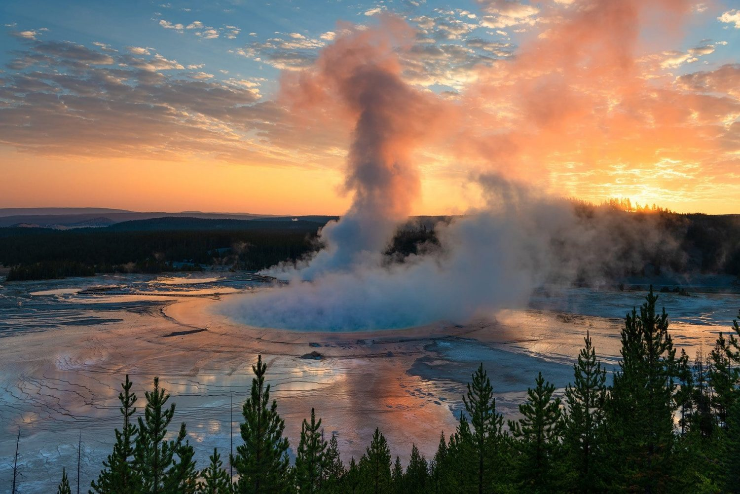 Grand Prismatic Spring Sunrise | Yellowstone National Park | WY
