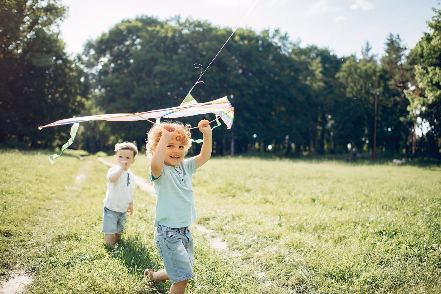 Two brother toddlers run through the park with a kite