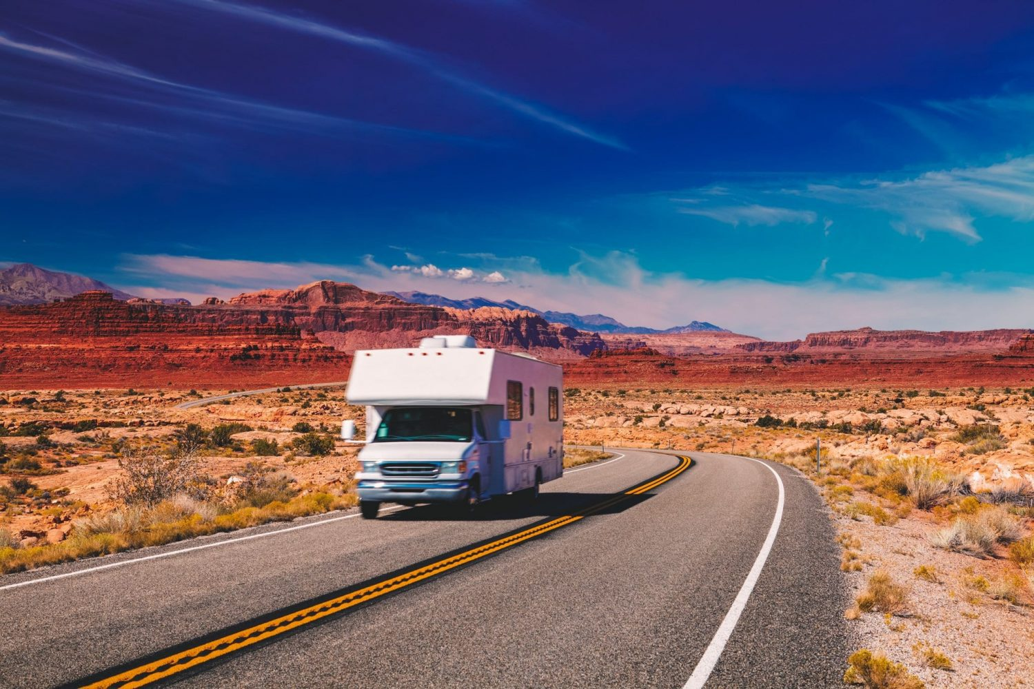 RV Camper driving down the highway on the way to the Grand Canyon